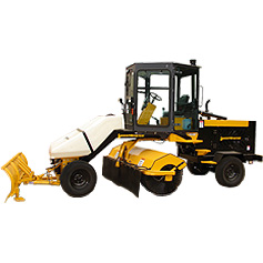 Yellow sweeper in plain white background | Cabbed backhoe rental